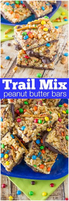 Trail Mix Peanut Butter Bars Recipe- These no bake bars are seriously so delicious!
