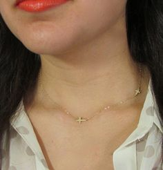 Double Sideways Cross Necklace Two Horizontal Cross by gemsinvogue