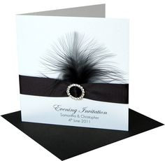 "This jeweled and feathers invitation is perfect for a 1920's ""Gatsby"" style wedding."