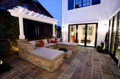 Built in large lounging area and fire pit for outdoor patio area!