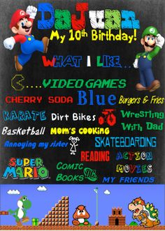 Super Mario Birthday Poster 16 x 20 by NaVellaPartyBoutique,
