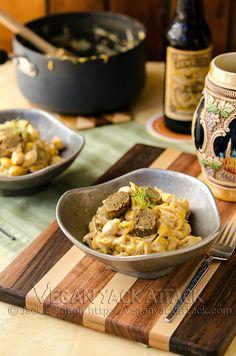 Beer & Bratwurst Mac n Cheese... #Vegan #entree #Recipe