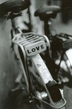"""The perfect bicycle """"license"""" plate:  LOVE!"""