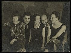 Citation: Group photograph, pictured from left to right are Louise Norton-Varèse, Edgard Varèse, Suzanne Duchamp, Jean Crotti, and Mary Reynolds, 1924 / unidentified photographer, photographer. Jean Crotti papers, Archives of American Art, Smithsonian Institution.