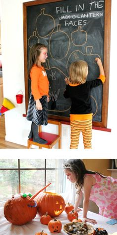 Lots of fun ideas for Halloween arts and crafts for kids including pumpkin decorating, spiderweb snacks, jack-o-lantern drawing prompts, and more.
