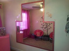 Free contractor grade bathroom mirrors, 1 large, 1 smaller, & edged them out with glitter tape for daughter to practice dance in her room. Total project cost under $10!