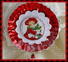 Vintage Sweet Little Girl Christmas Ornament