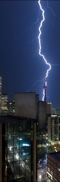Lightning striking Toronto's CN Tower