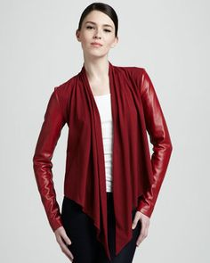Bagatelle Drape-Front Leather Jacket - Neiman Marcus