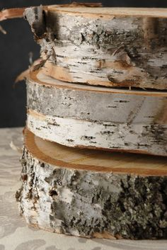"""Round Natural Birch Tree Slices 11-15"""" wide $21 each (2"""" thick)"""