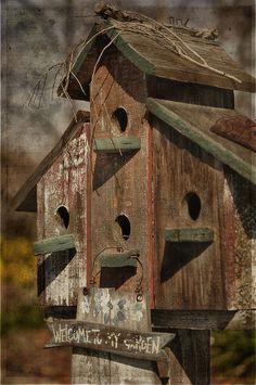 Love the rustic birdhouses!
