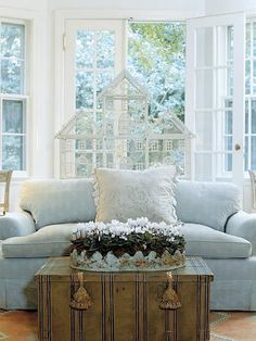 blue rooms, coffee tables, couch, living room ideas, birdcages, birdcage decor, future room, cottage style, blues