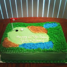 Golf course cake I made. Buttercream grass , used brown sugar for the sand, Fondant golf ball and flag. Cannoli filling/vanilla cake.