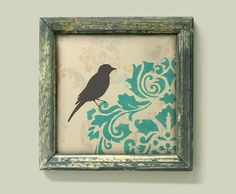Bird Art Print Blue Damask Cottage Chic Shabby Wall