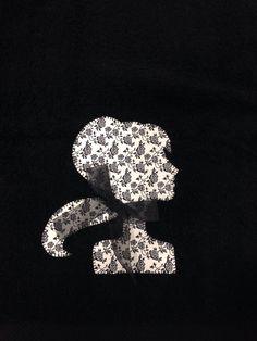 Toalla #patchwork #vintage en blanco y negro
