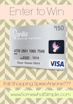 Enter to win a $150 Visa Gift card from SomewhatSimple.com