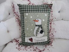 I Love Snowmen Pillow with Green and Tan Border by chickenhearts, $20.00