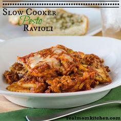 Slow Cooker Pesto Ravioli - Real Mom Kitchen