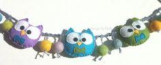 Owl pram chain in felt  Barnevognskæde med ugler i filt