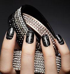 nail trends, nailart, nail designs, manicur, black nails, nail arts, beauti, bling nail, nail idea