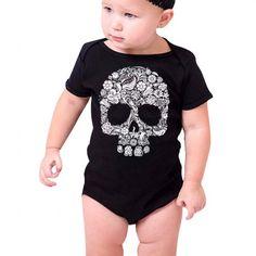 Baby Floral Skull Bodysuit