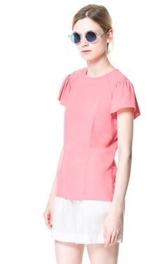 TOP WITH FRILLED SLEEVES from Zara
