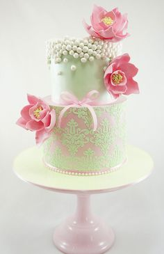 Mint green and pink cake