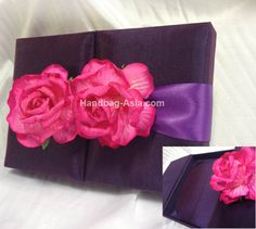 Flower Wedding Invitation Box. This handmade gate fold silk box can be used to send wedding invitation cards, bridal shower invitation cards or event invitations. High quality design from Thailand that comes in purple, ivory, white and many other fabulous color themes. Must have and not expensive.