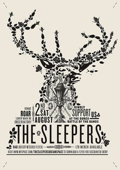 The Sleepers - Battle-of-the-Bands graphic design, band posters, antlers, retro posters, retro design, velcro suit, concert posters, the band, deer