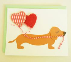 Valentine BBQ the Dachshund Doxie with Red Hearts Felt by Cuore, $7.25