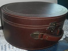 Vintage train case Antique Round Cowhide Leather by GingerNIrie