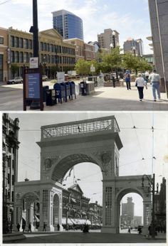 Above is a view of Main Street featuring the ZCMI facade and the Walker Bank in the distance on May 20, 2014. Below is a similar view from Sept. 11, 1916, featuring a temporary arch over Main Street.
