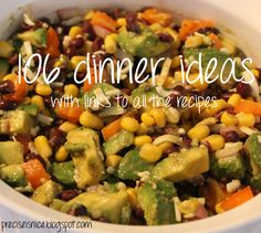 Precise is Nice: 106 Dinner Ideas - wow you can even print out the ideas for your meal planning board.  Thx