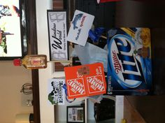 Husband Gift. Favorite 6 pack and favorite stores. :)
