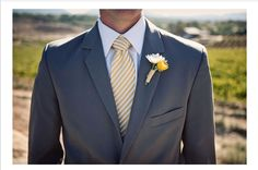 Grey suit and yellow striped tie #groom