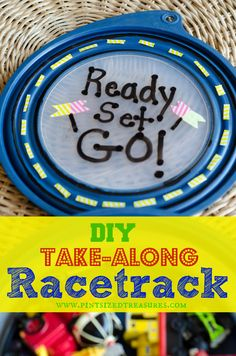 Super-fun, DIY take-along race-track lets your child take along his favorite cars, trains and play with them on his very own track! Easily portable, this racetrack is great fro an easy clean-up after playtime. Have fun! #DIY #kidstoys #racetrack #fun