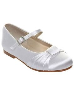 White Satin Face Bow Flat Flower Girl Shoes - Wedding  Shoes