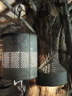lanterns/lights made out of minnow buckets and tin funnels.... love