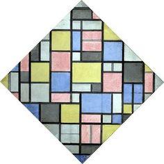 Composition with grid 6: lozenge, composition with colors - Piet Mondriaan (1872 - 1944)