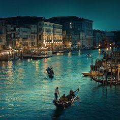 Night shot of Venice