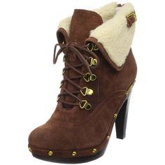 BCBGeneration Women's Melo Faux Shearling Ankle Boot,Castagno/Latte Crosta Suede