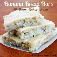 Banana Bread Bars with Brown Butter Glaze--my new favorite recipe for overripe bananas! And it only takes 20 min to bake!