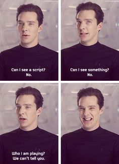 """Star Trek Into Darkness"" - ha! the last one is his ""i have a secret you don't know and i just answered your question about a spoiler in the most annoying way! hehehe"""