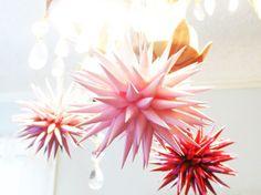 Sweetheart Pink Pastel Paper Star Urchin Ornament Polish folk art girly girl soft petal pink home decor christmas valentine - 4 inch