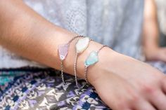 DIY Sea Glass Bracelet | The Sweetest Occasion  Supplies:   +Sea glass mosaic pieces +E-6000 glue +Silver chain (about 6 inches per bracelet) +6 small silver jump rings per bracelet +1 lobster clasp per bracelet +Jewelry pliers +Stud backs or French wire hooks for earrings