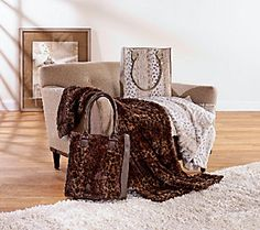 Sleep over in style with this Dennis Basso Faux Fur Overnight Bag with Throw - so fluffy!
