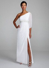 Let your inner goddess shine in this sensational chiffon one shoulder gown!  One shoulder bodice feature unique and enchanting sheer chiffon sleeve.  Beaded empire waist sparkling and creates a flattering silhouette.  Side drape and eye-catching slit creates movement and dimension.  Fully lined. Side zip. Imported polyester. Dry clean.