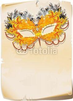 #Feathers #Mask on #Vintage #Poster #Background-#Vector © bluedarkat