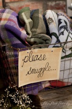 please snuggle {love this label and basket idea for blankets inside the house and those you bring to games, fall picnics, etc.}