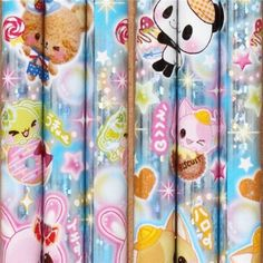 kawaii glitter pencil with animals and sweets